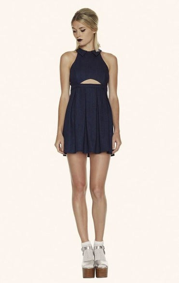 Delores Haze dark indigo Denim Karen Dress, front view on model