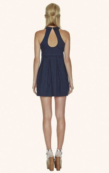 Delores Haze dark indigo Denim Karen Dress, back view on model