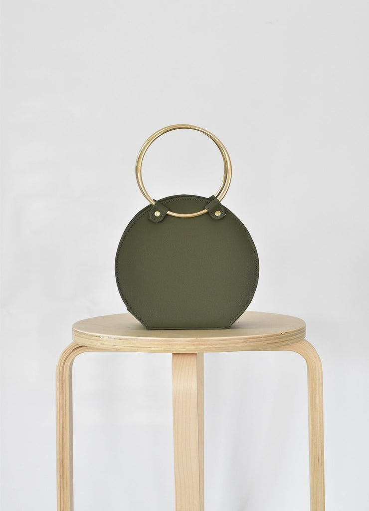 Ceibo Handcrafted Ring Bag in Olive, front view