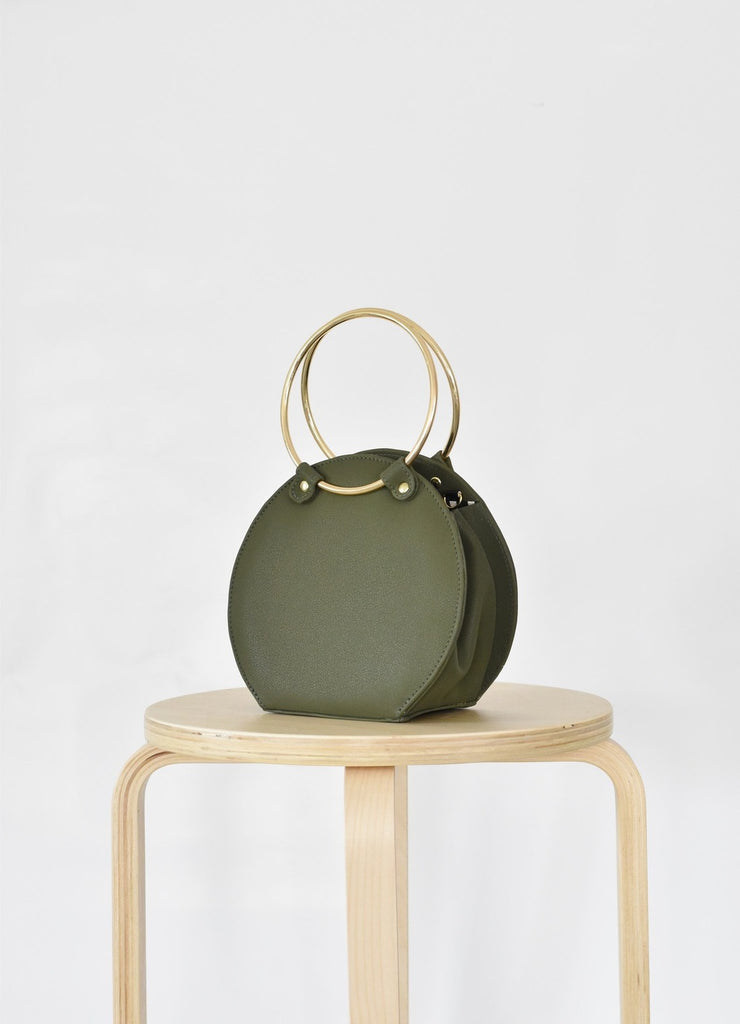 Ceibo Handcrafted Ring Bag in Olive, 3/4 view