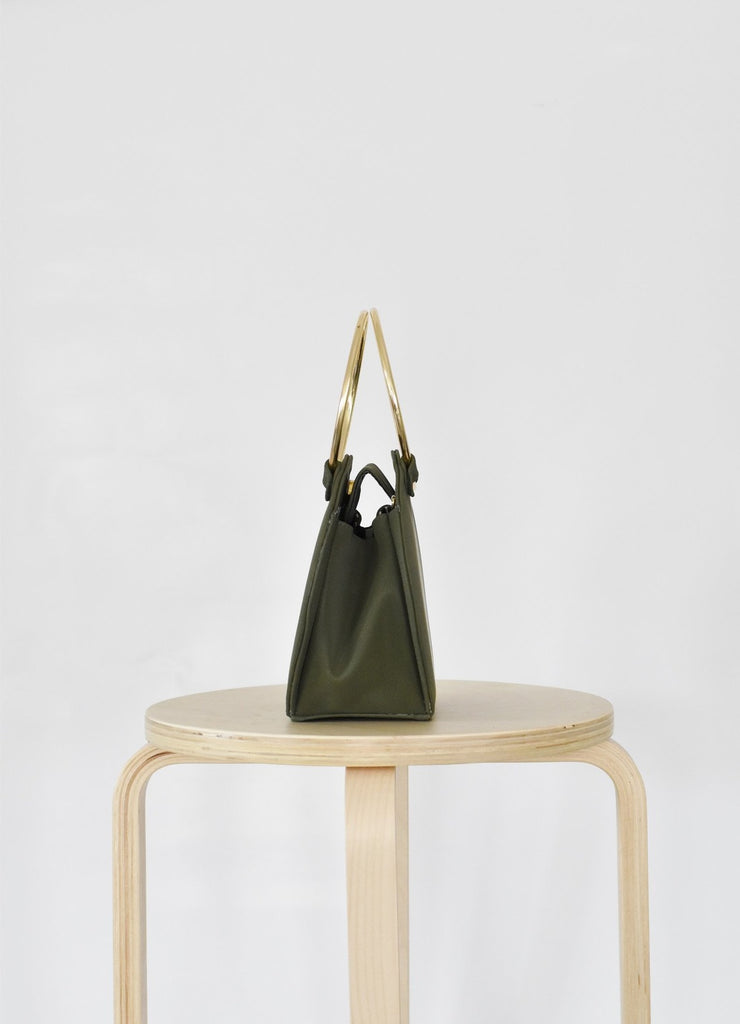 Ceibo Handcrafted Ring Bag in Olive, side view