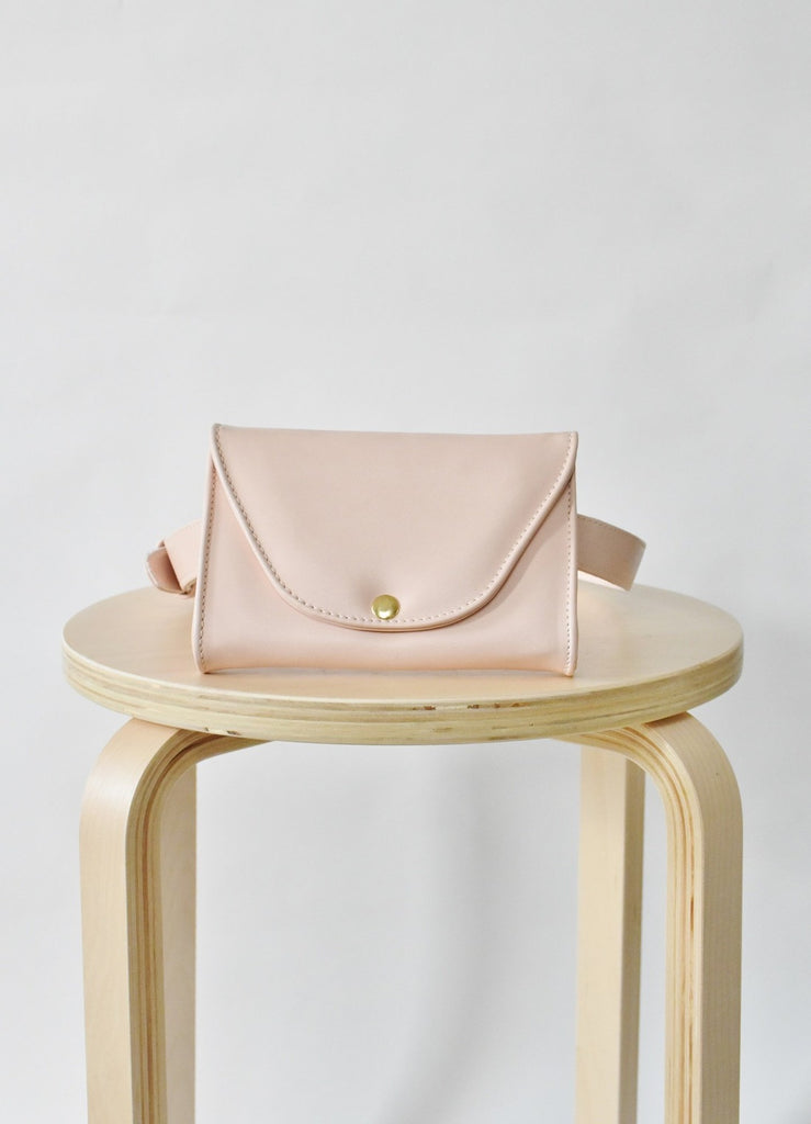 Ceibo Handcrafted Belt Bag in Nude, front view