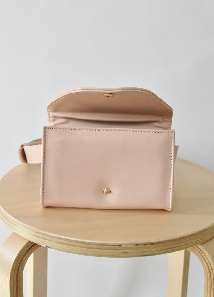Ceibo Handcrafted Belt Bag in Nude, front view (open)
