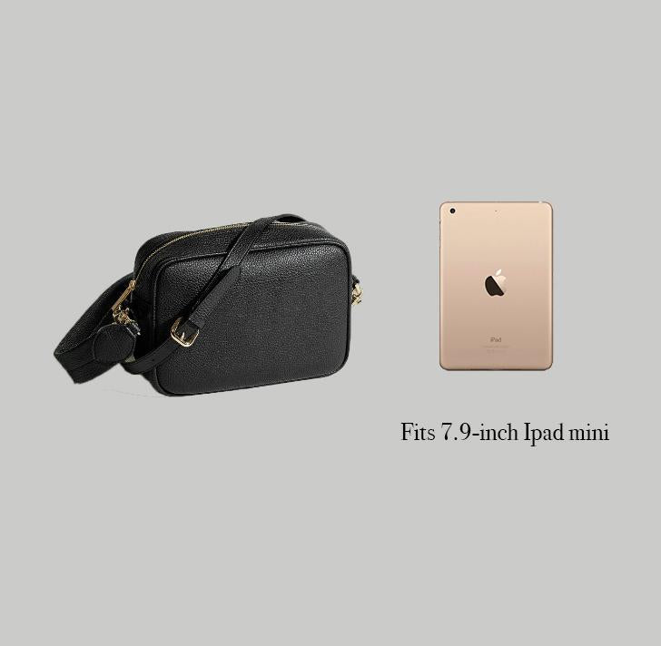 Angela Roi Vegan Grace Cross-body in Black, side-by-side with iPad mini