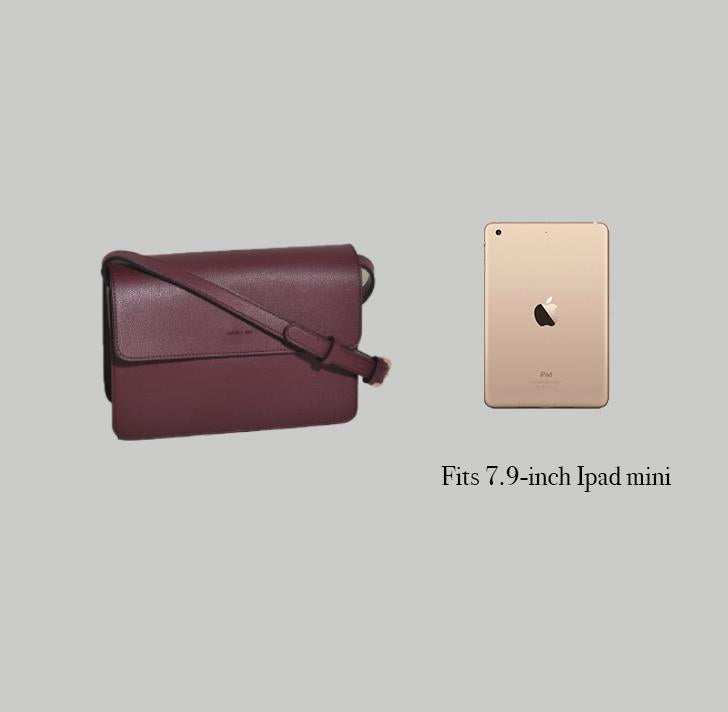 Angela Roi Vegan Hamilton Cross-body in Black, side-by-side with iPad mini