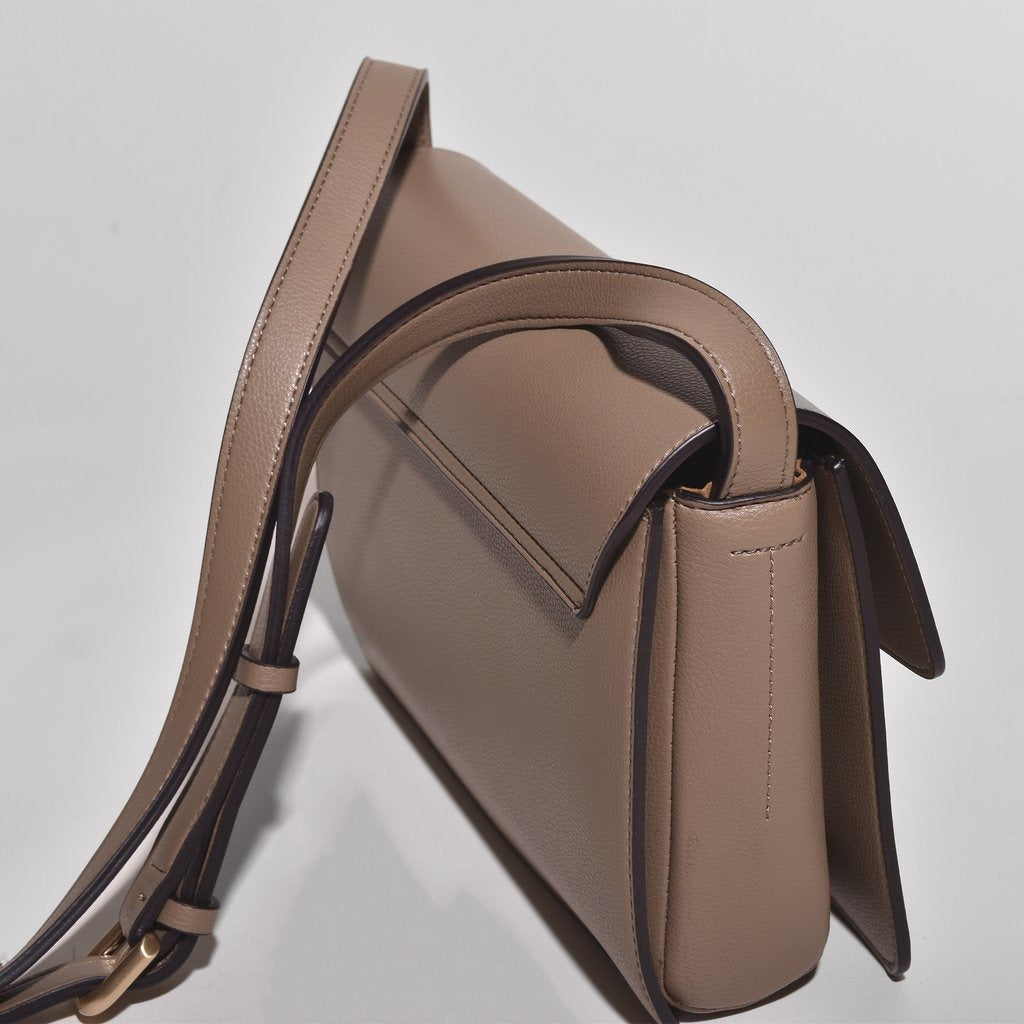 Angela Roi Vegan Hamilton Cross-body in Mud Beige, side view from above
