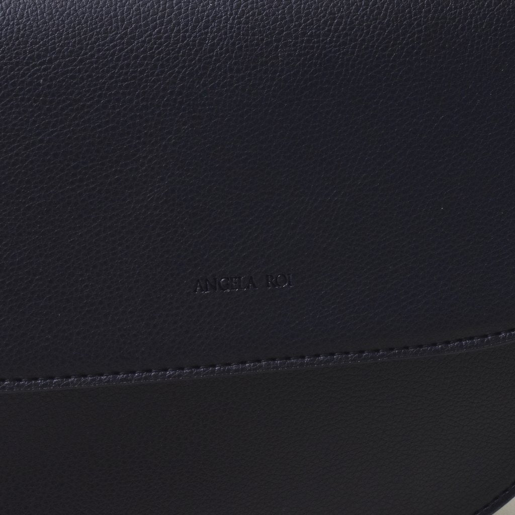 Angela Roi Vegan Hamilton Round Cross-body in Black, logo close up