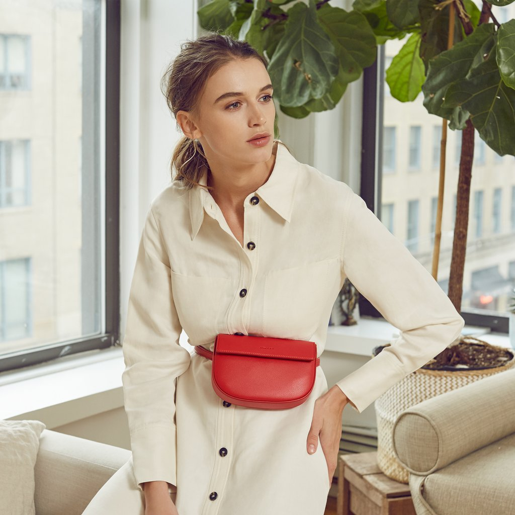 Copy of Hamilton Belt Bag / Cross-body in Red on model