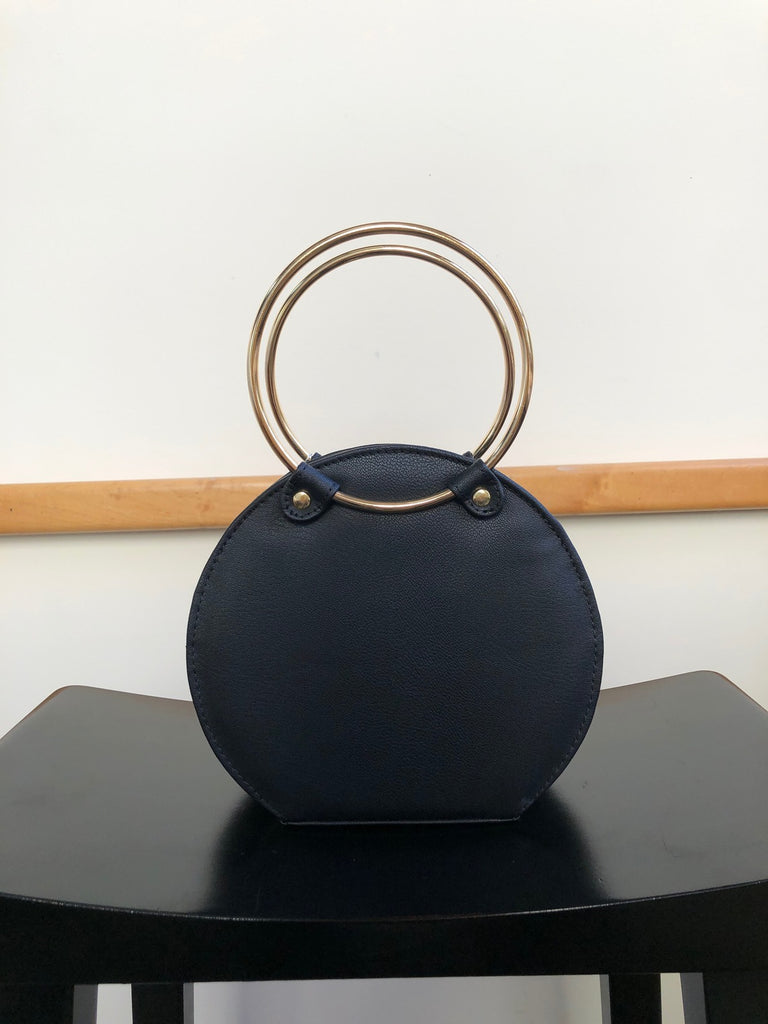 Ceibo Handcrafted Ring Bag in Black, front view
