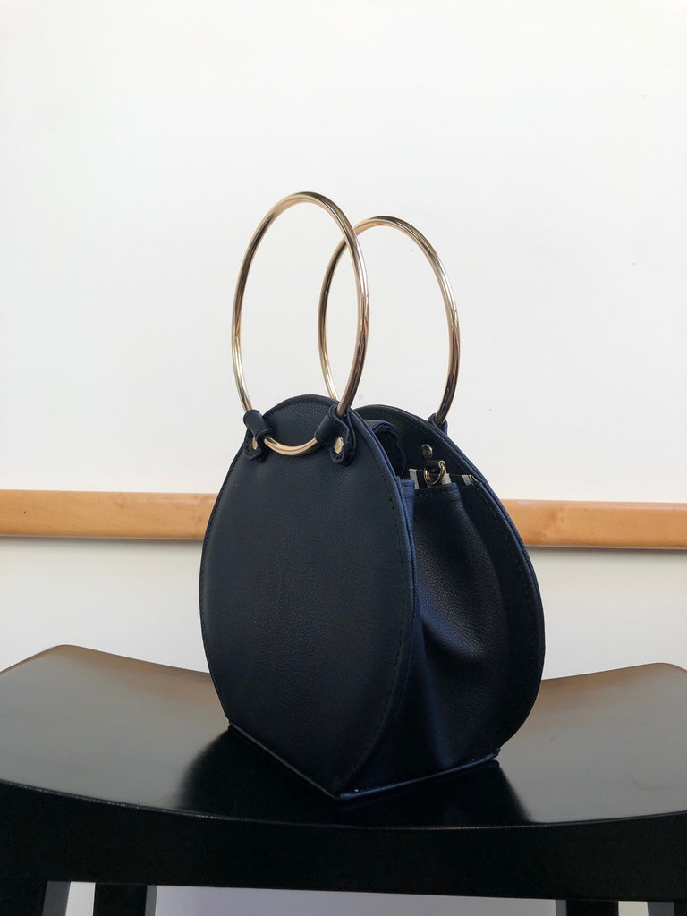 Ceibo Handcrafted Ring Bag in Black, 3/4 view