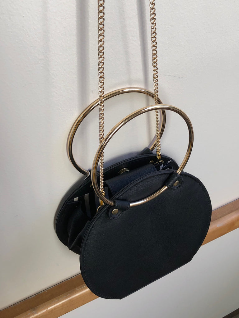 Ceibo Handcrafted Ring Bag in Black, top view