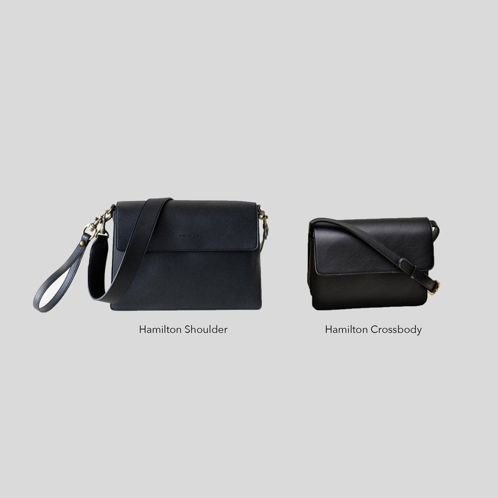 Angela Roi Vegan Hamilton Satchel in Black, side-by-side with Hamilton Shoulder