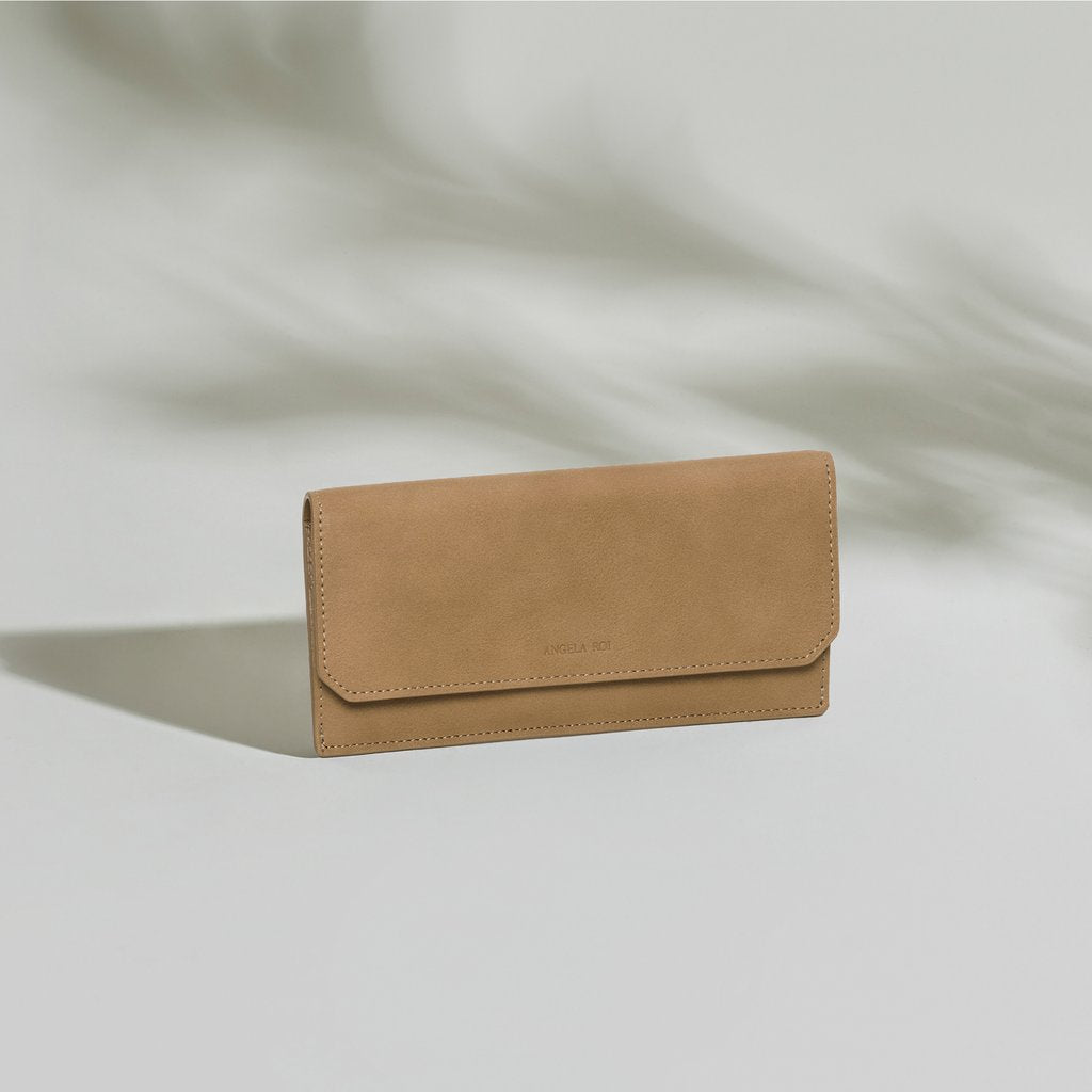 Olivia Slim Wallet in Beige front view