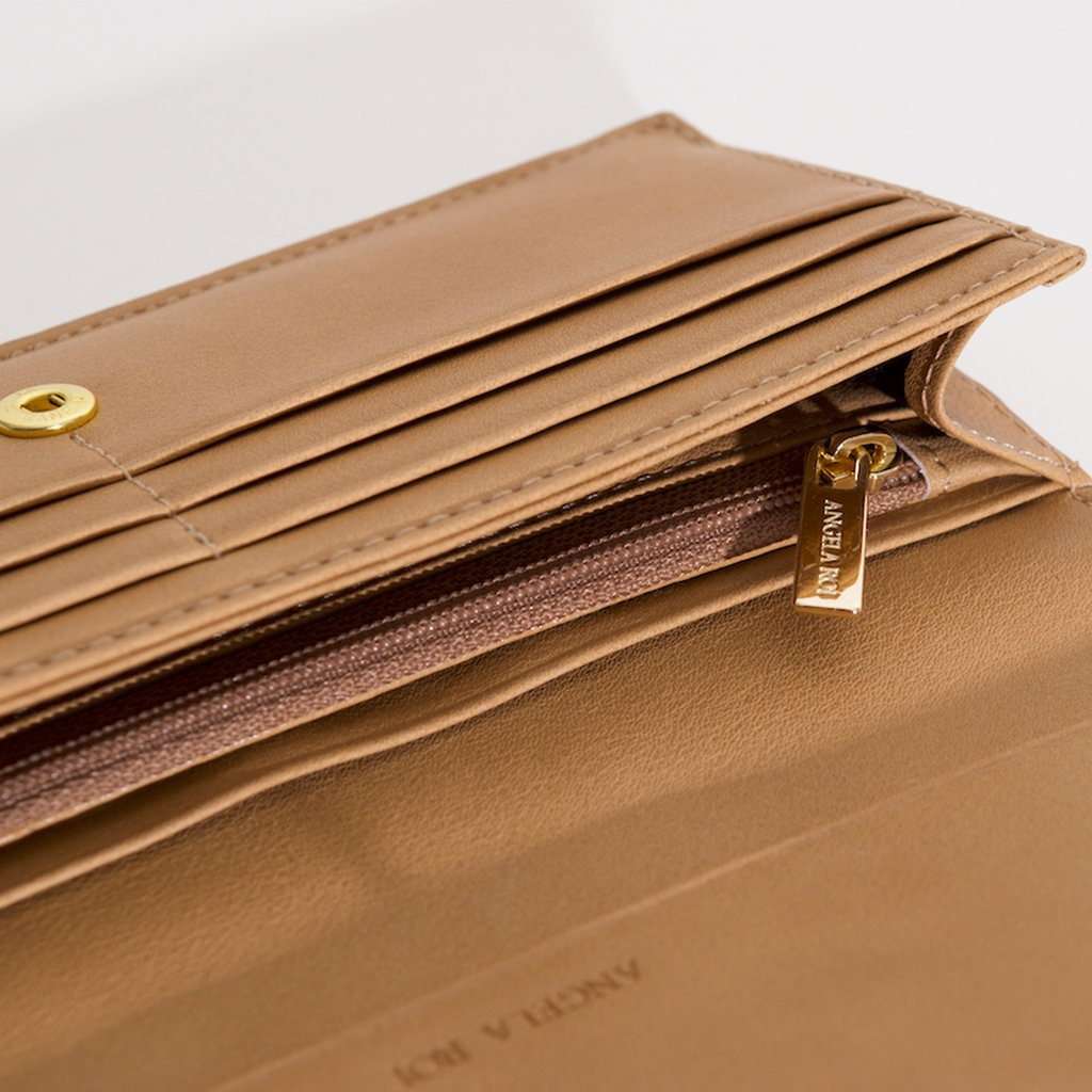 Olivia Slim Wallet in Beige top view