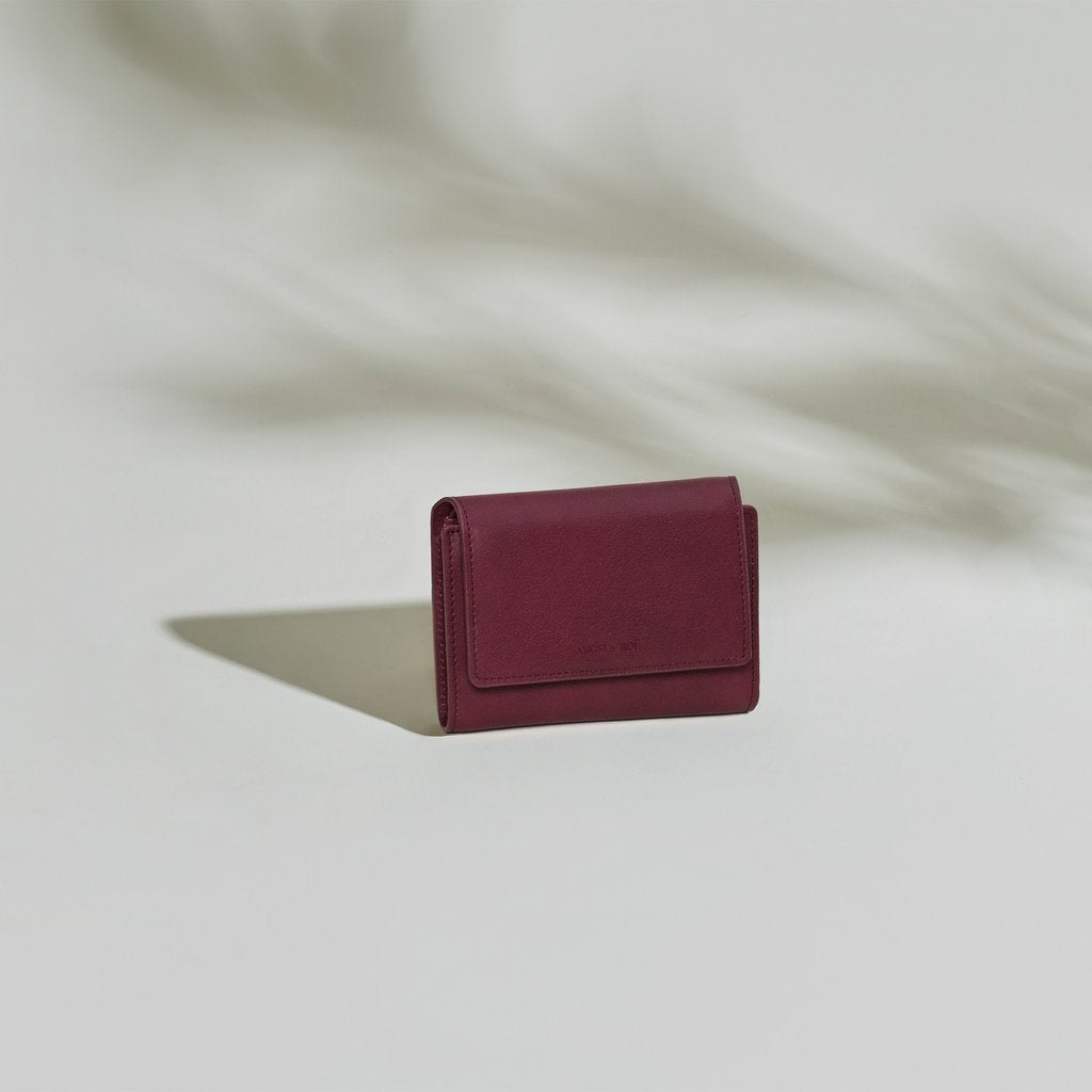 Olivia Compact Wallet in Bordeaux front view