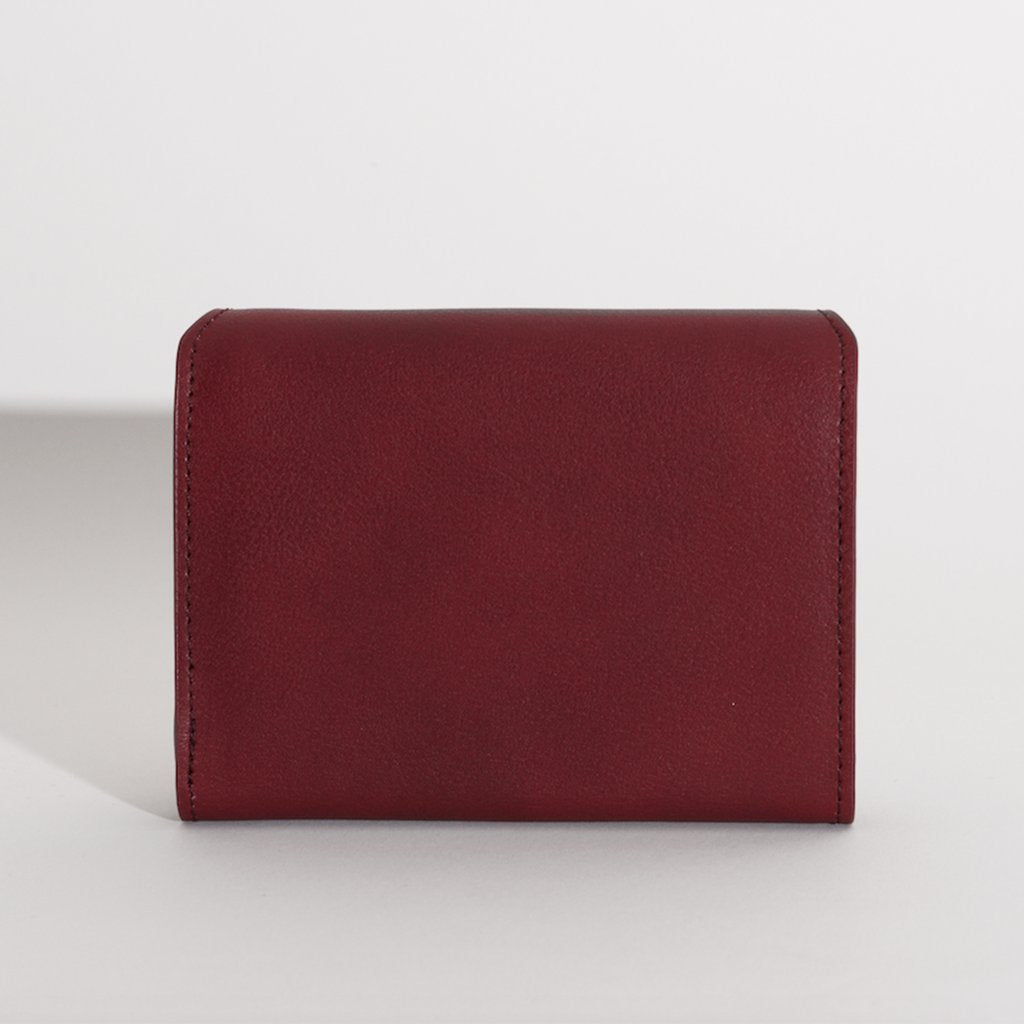 Olivia Compact Wallet in Bordeaux back view