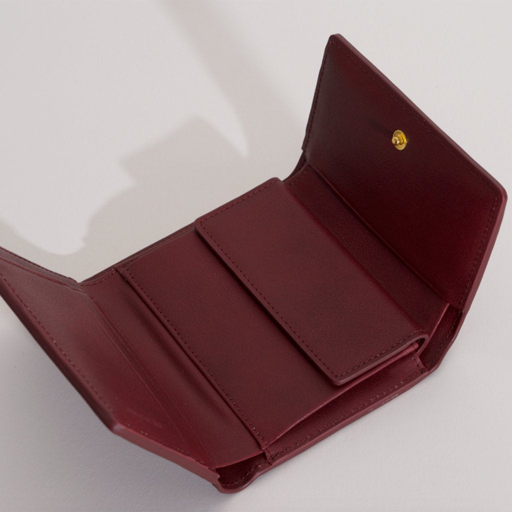 Olivia Compact Wallet in Bordeaux open