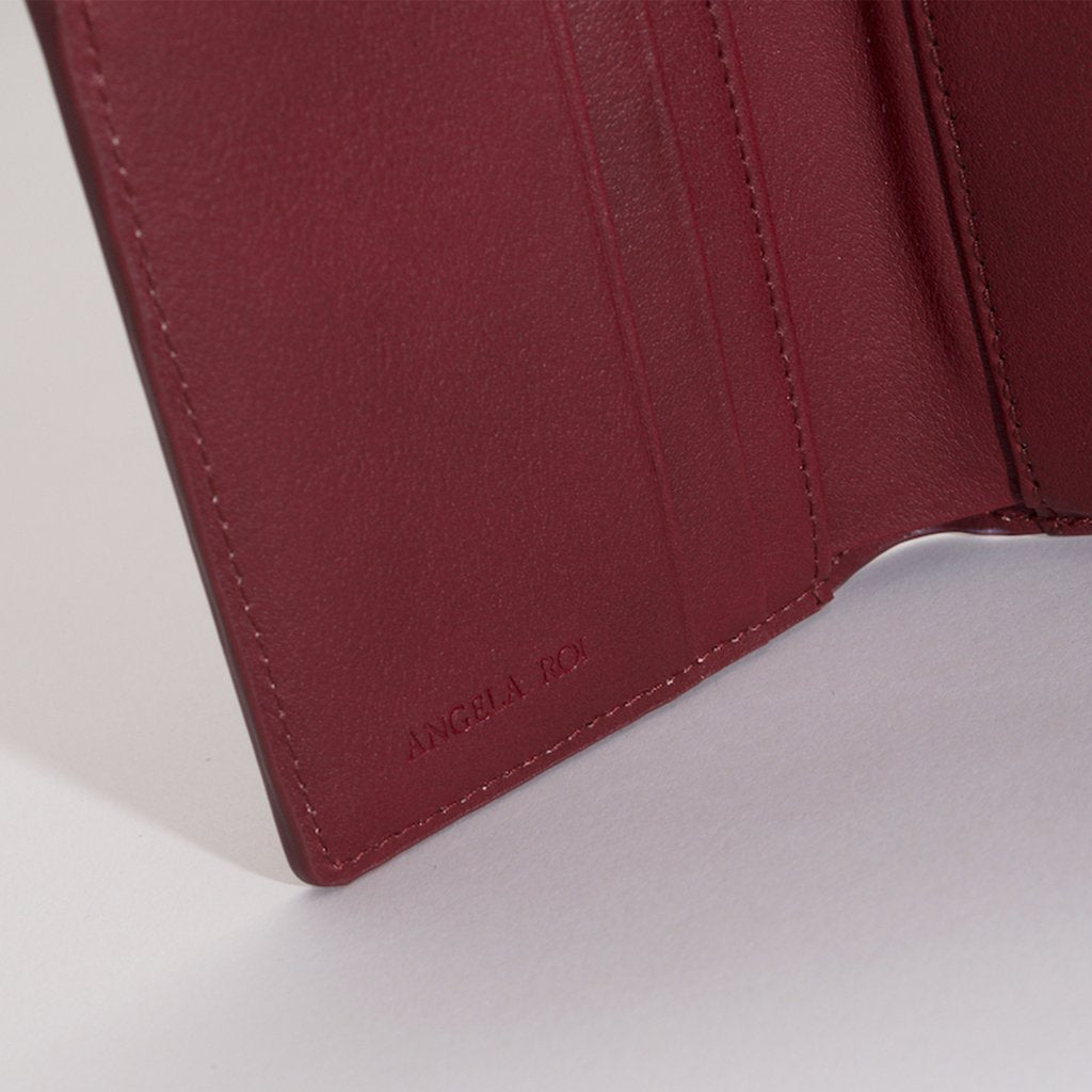 Olivia Compact Wallet in Bordeaux stitching detail