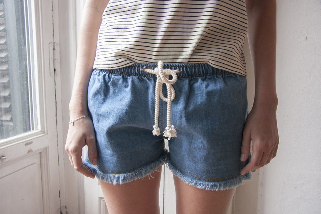 Miakoda Organic Cotton Denim Shorts, front view on model
