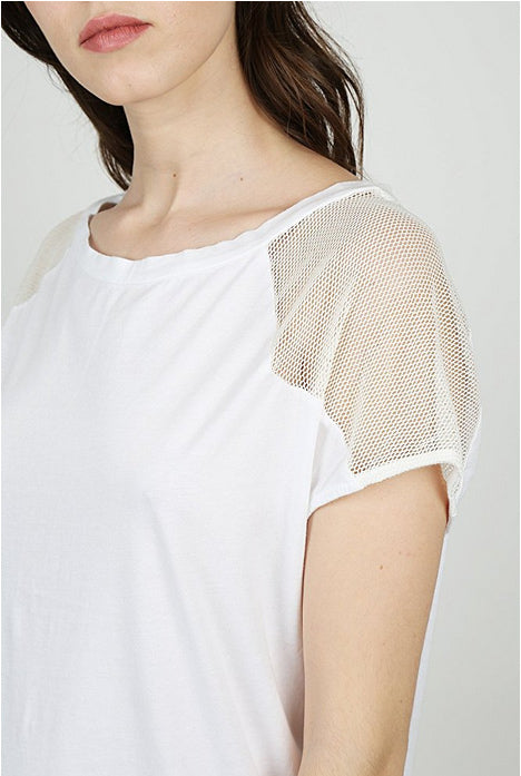 Miakoda White Net Tee, 3/4 view on model