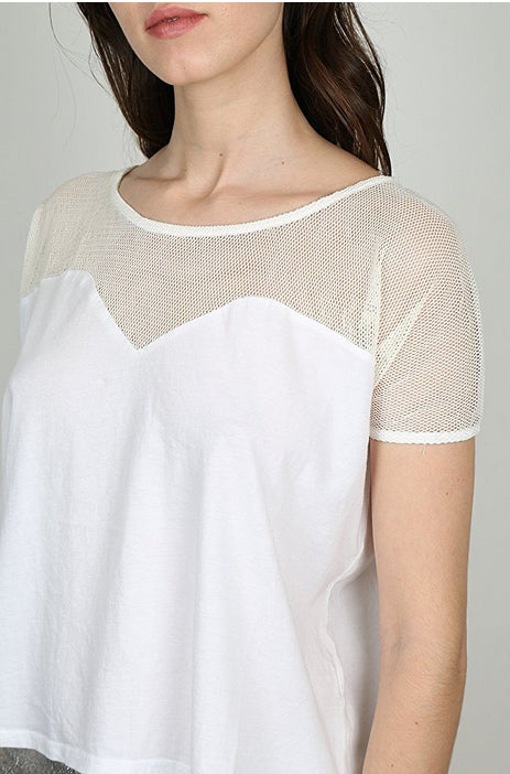 Miakoda White Net Tee, on model
