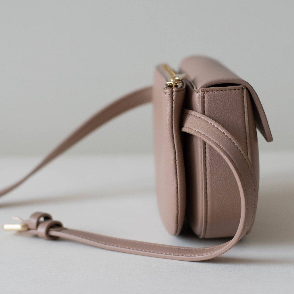 Hamilton Belt Bag / Cross-body in Taupe side view