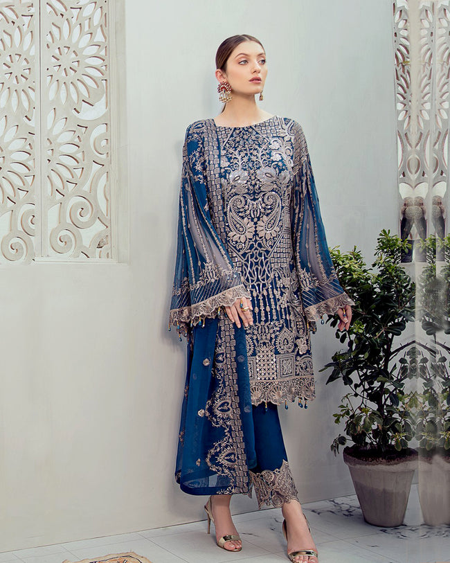 Blue Color Georgette Unstitched Pakistani Salwar Kameez Suits