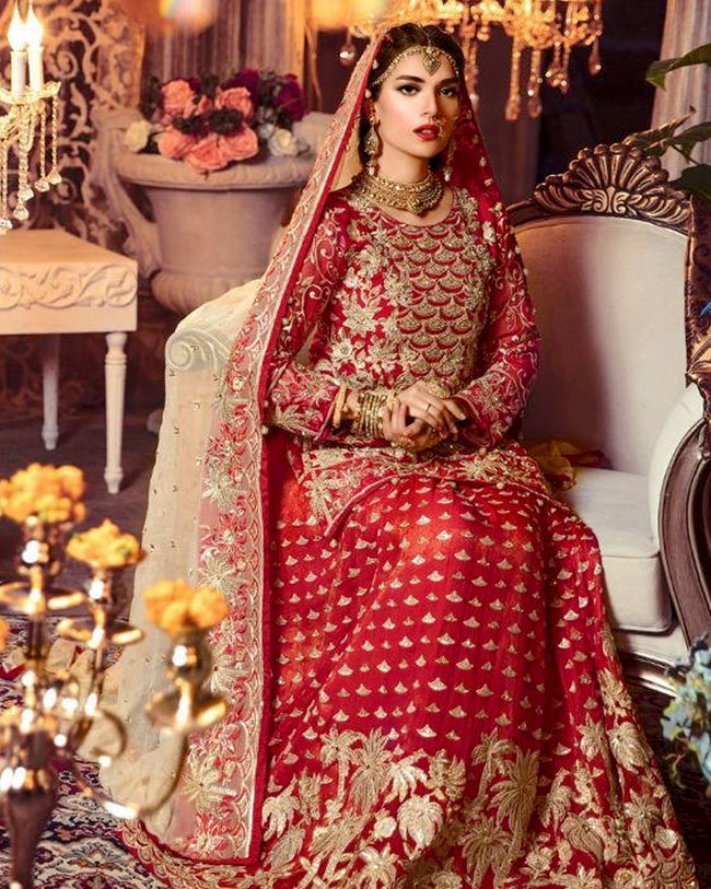 Red Color Bridal Wear Heavy Unstitched Pakistani Lehenga Kameez Suits