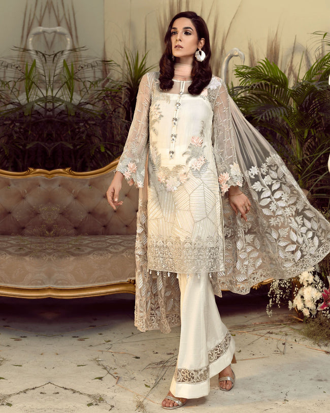 Stylish Off-White Color Georgette Unstitched Pakistani Suit