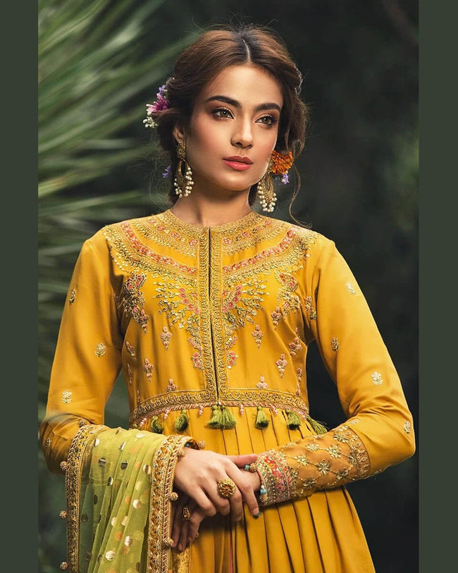 Elegant Mustard Yellow Color Rayon Unstitched Pakistani Anarkali Style Suit