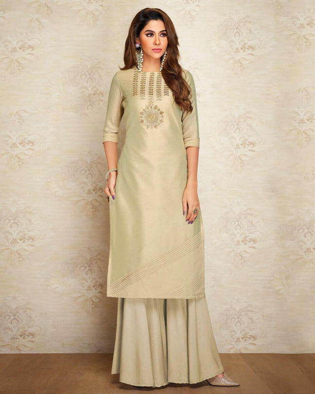 Beige Colored Partywear Embroidered Pure Silk Palazzo Suit