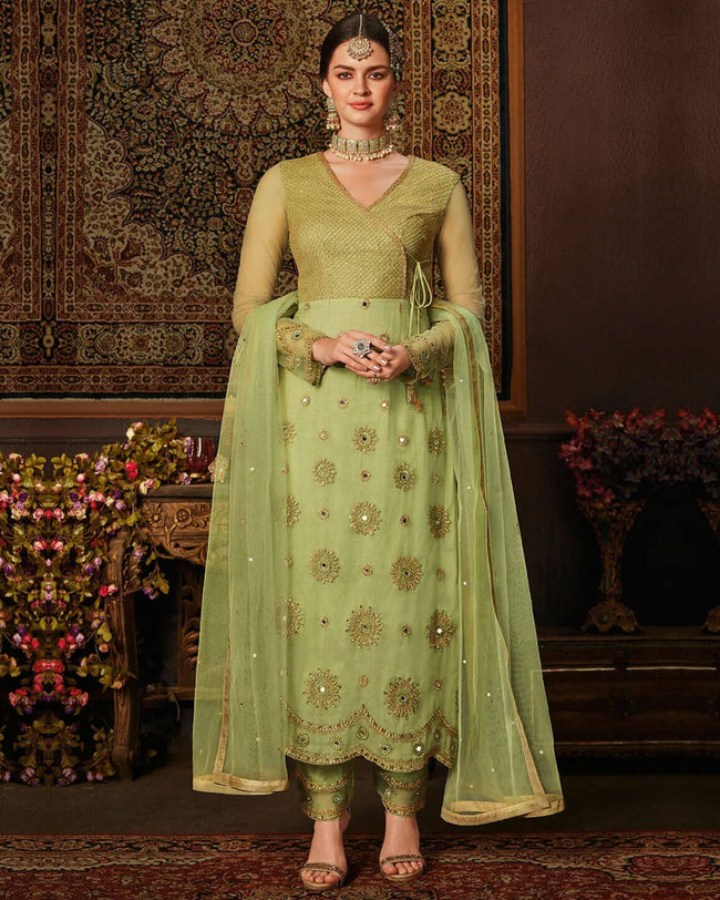 Elegant Green Color Net 100% Original Pakistani UnStitched Suit