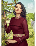 Maroon Colored Partywear Embroidered Georgette Gown