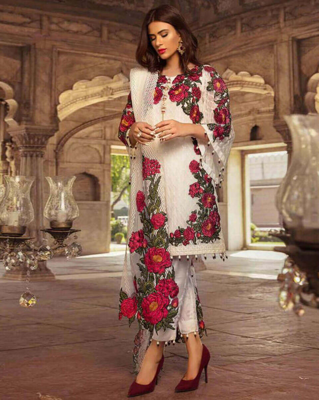 White Colored Partywear Embroidered Georgette Unstitched Pant Style Suit