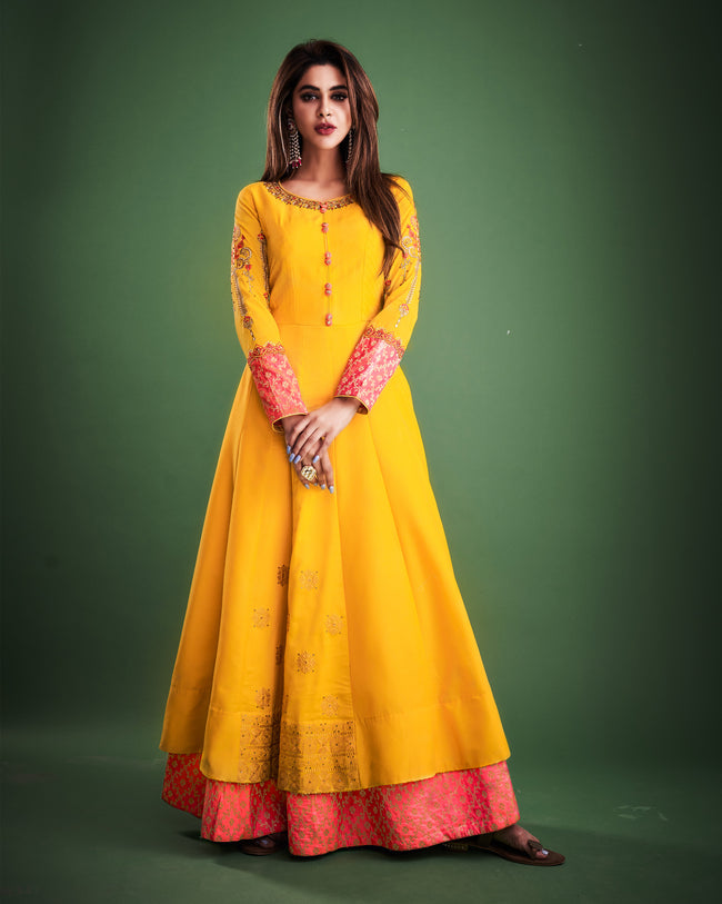 Yellow Colored Partywear Embroidered Taffeta Silk Gown