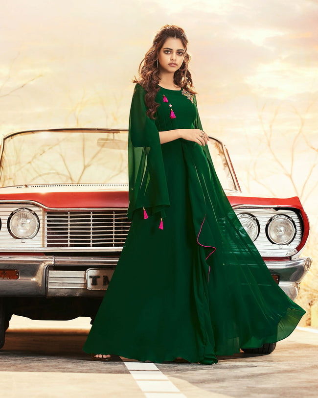 Green Colored Partywear Embroidered Georgette Gown