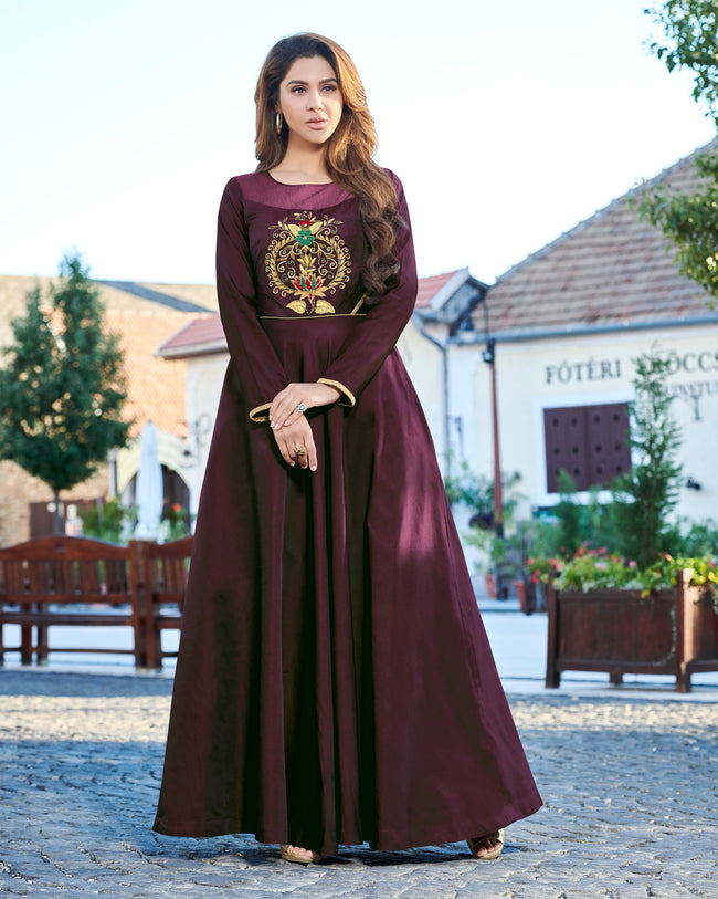 Dark Wine Colored Party Wear Embroidered Tapeta Silk Gown