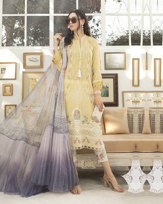 Beautiful Yellow Color Pure Cotton Semi Lawn Printed Pakistani Suit