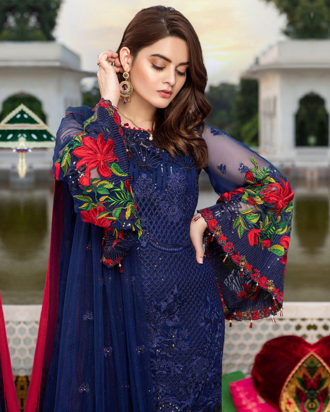 Navy Blue Colored Partywear Embroidered Faux Georgette UnStitched Suit