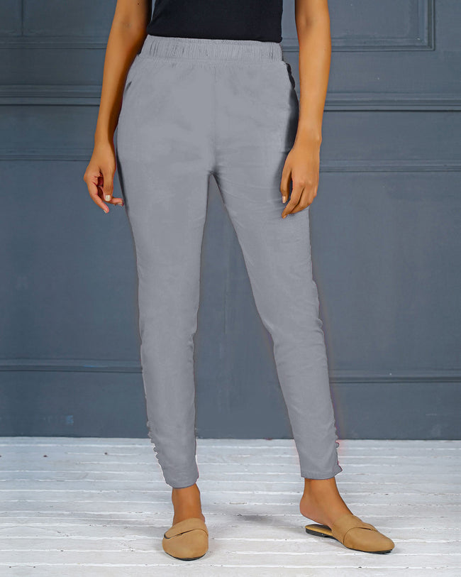 Grey Solid Stretchable Narrow Fit Pant