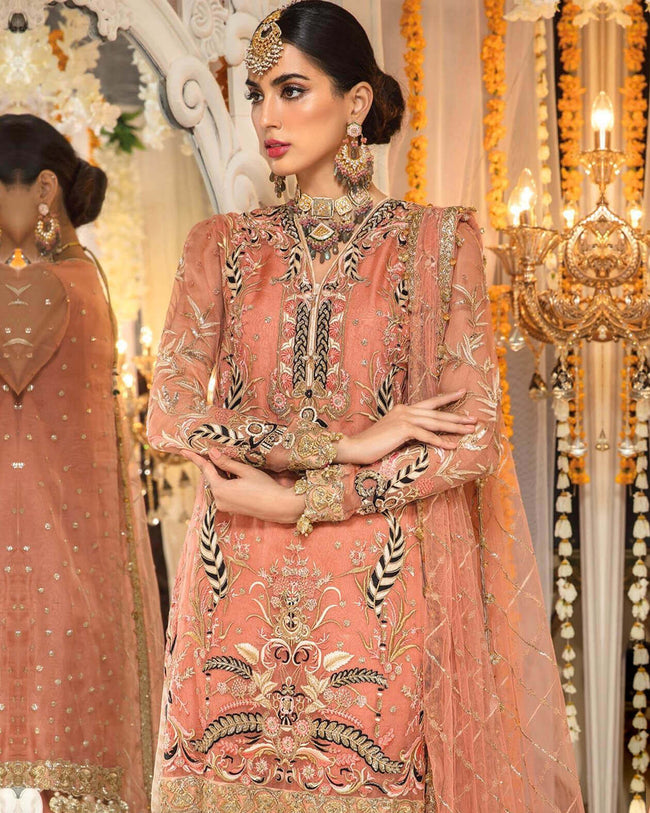 Demanding Peach Color Net Unstitched Pakistani Suits