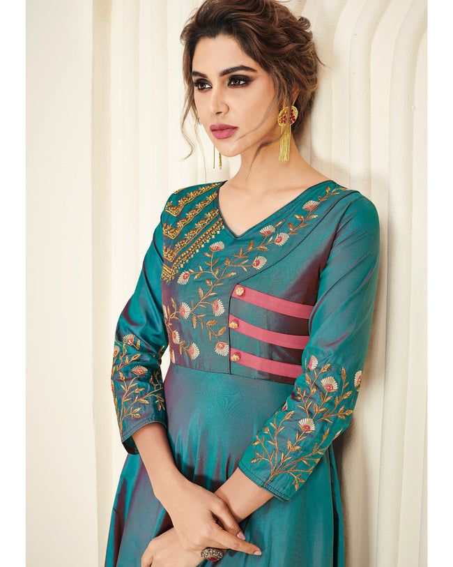 Teal Green Colored Partywear Embroidered Silk Gown