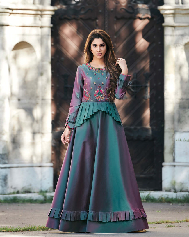 Teal Green Colored Partywear Embroidered Tapeta Silk Gown
