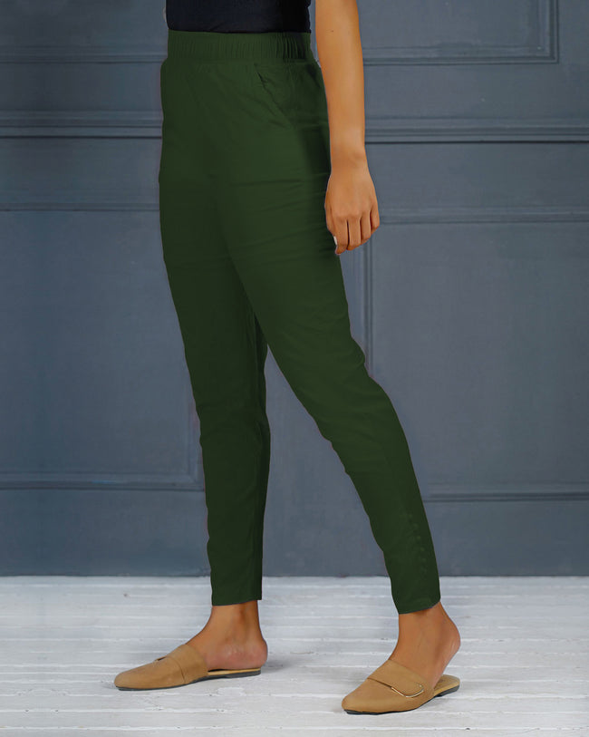Dark Green Solid Stretchable Narrow Fit Pant