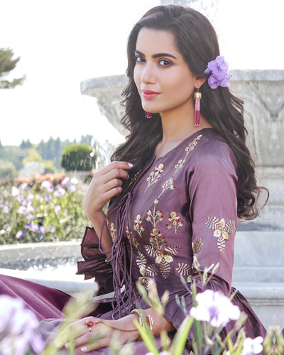 Marvellous Purple Colored Floral Embroidered Silk Gown