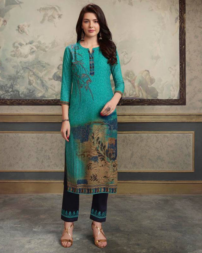 Teal Blue Color Festive Wear Printed Rayon Stylish Pant Suits