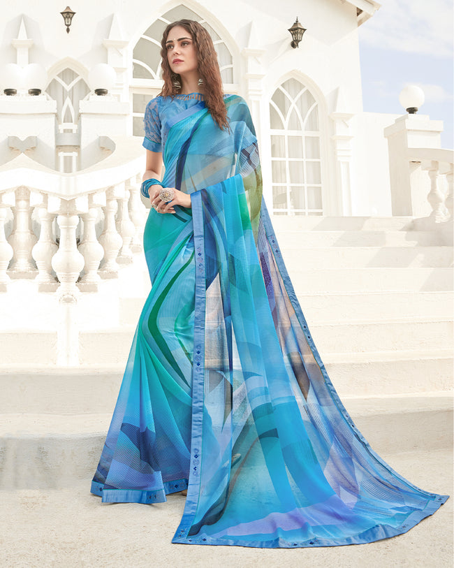 Sky Blue Color Two Tone Pure Georgette Digital Printed Saree