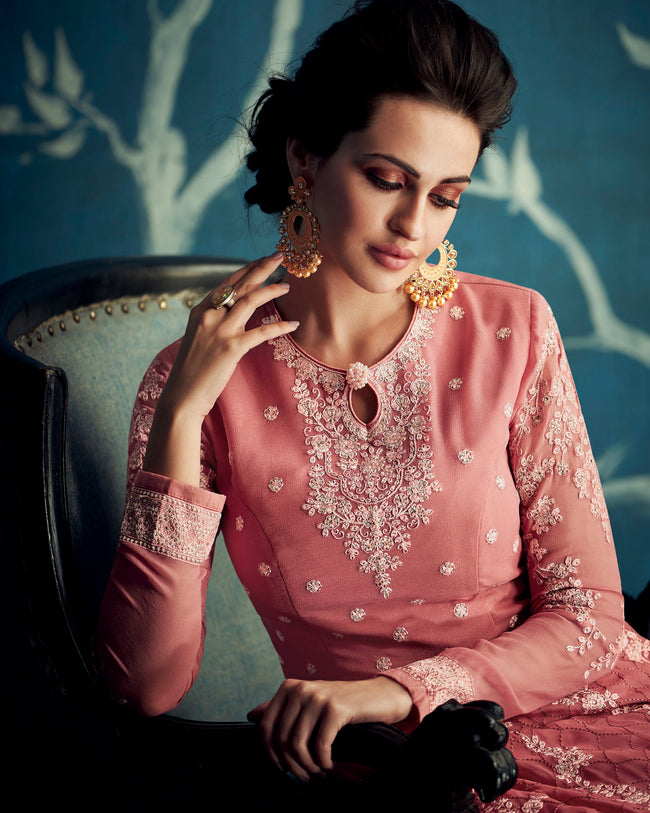 Salmon Colored Partywear Embroidered Georgette Semi-Stitched Anarkali Suit
