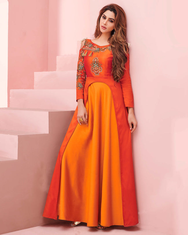 Orange Colored Party Wear Embroidered Work Silk Gown