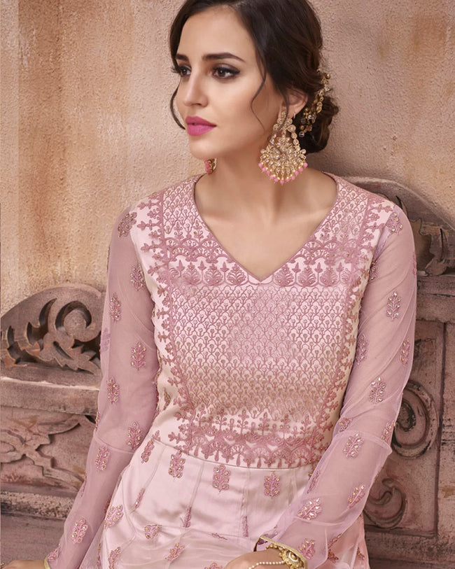Pink Color Bridal Wear Net Semi Stitched Anarkali Gown